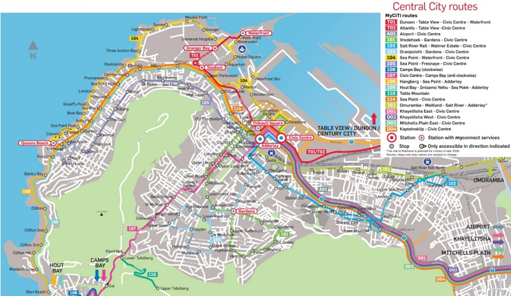 Cape Town city center transport map