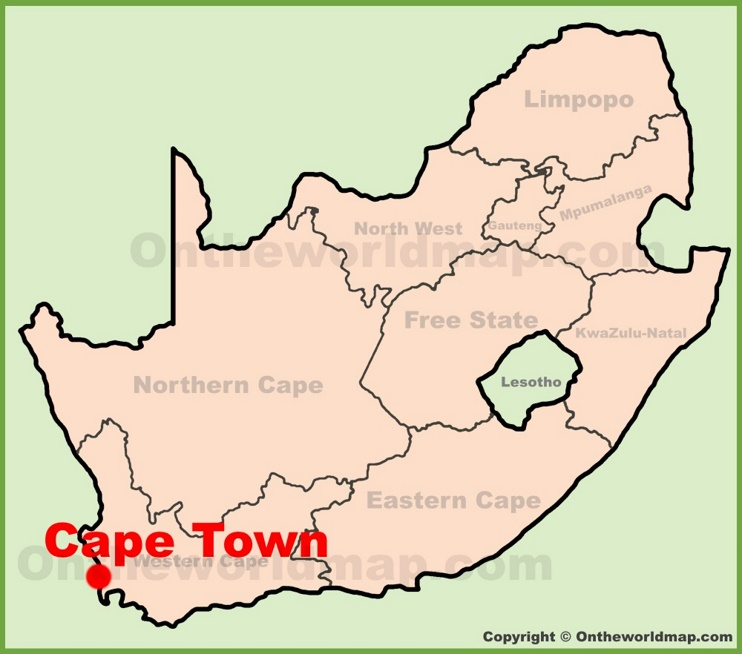 Cape Town location on the South Africa Map