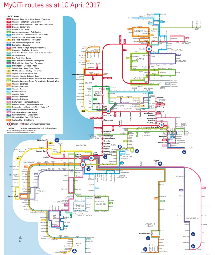 Cape Town MyCiTi bus map