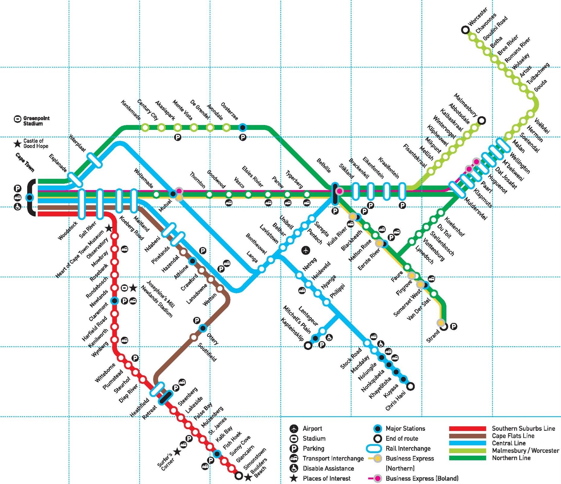 Cape Town rail map
