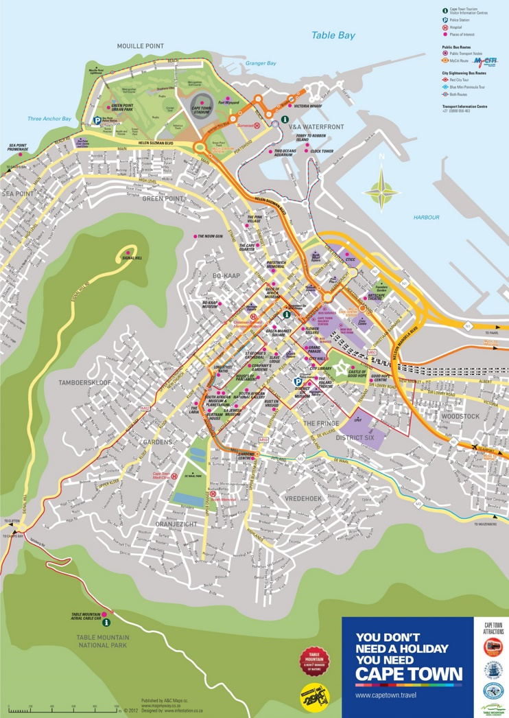 Cape Town sightseeing map