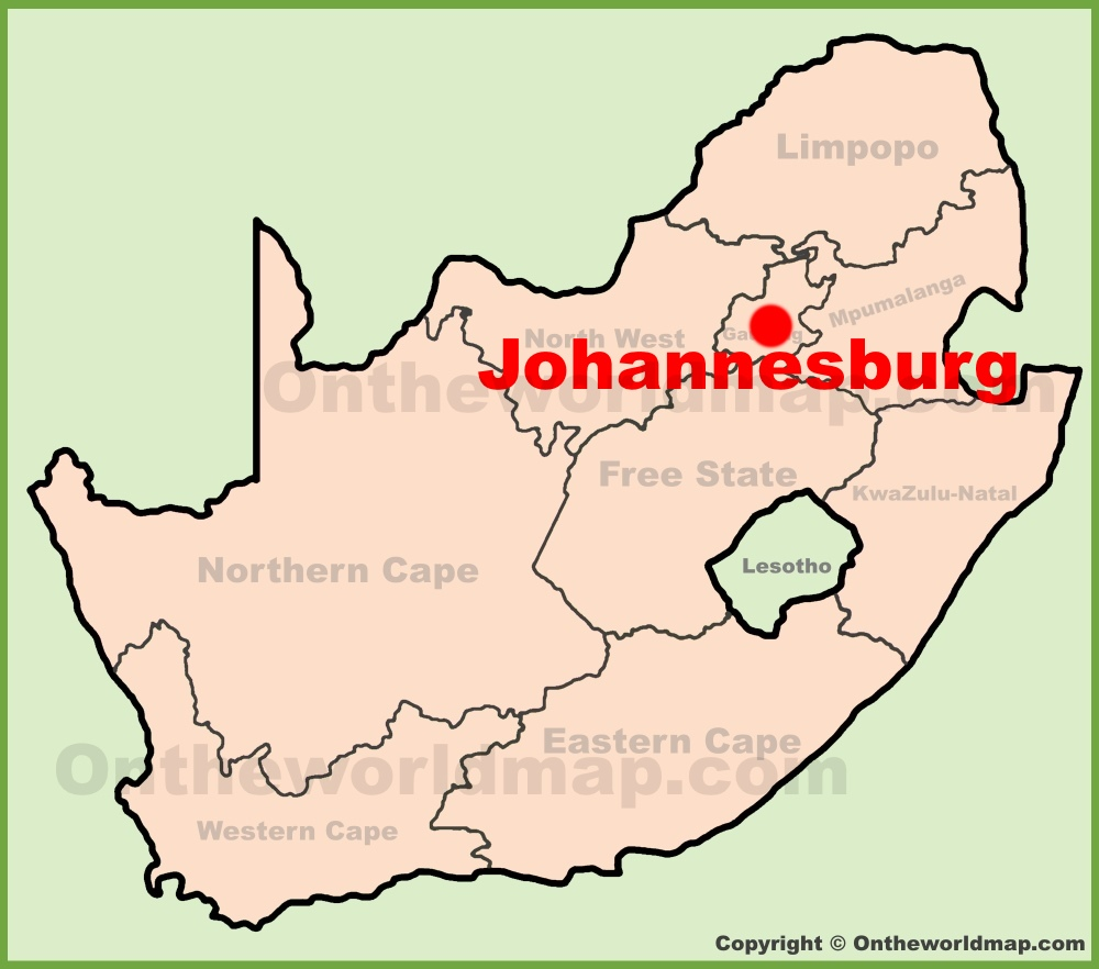 Johannesburg location on the South Africa Map