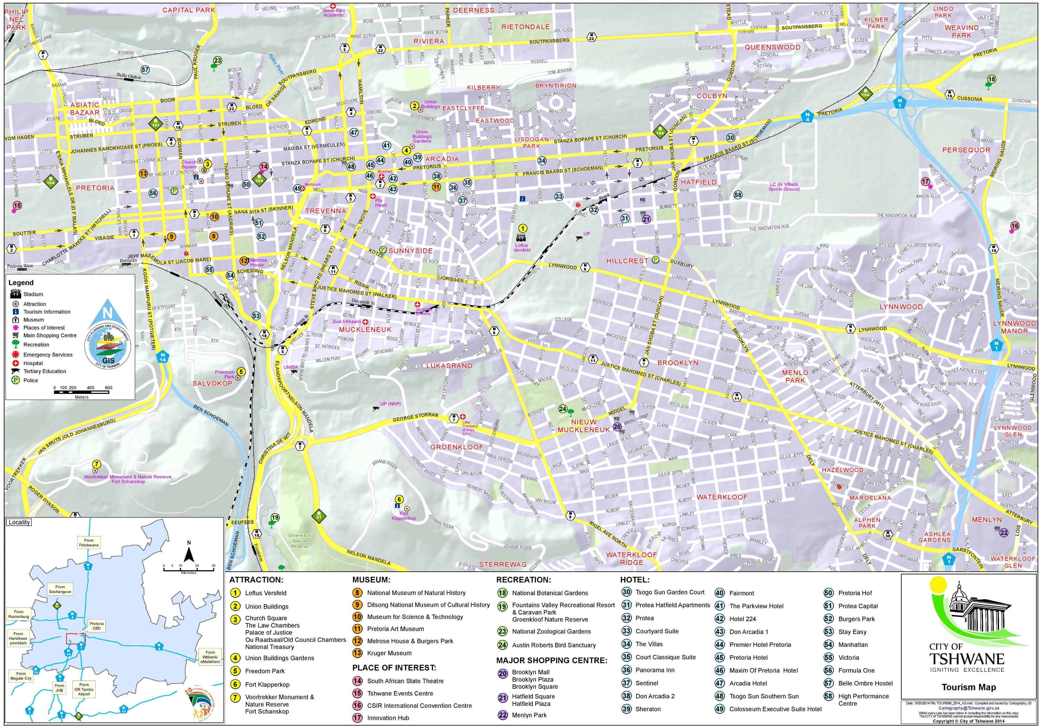Tshwane tourist map