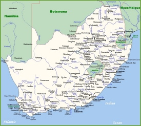 Map of South Africa with cities and towns