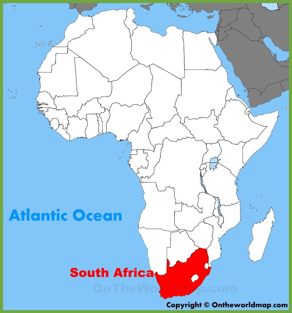 South Africa Location On The Africa Map - South africa map