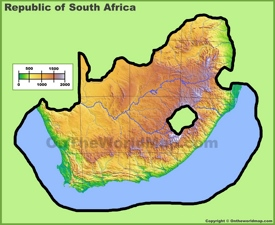 South Africa physical map