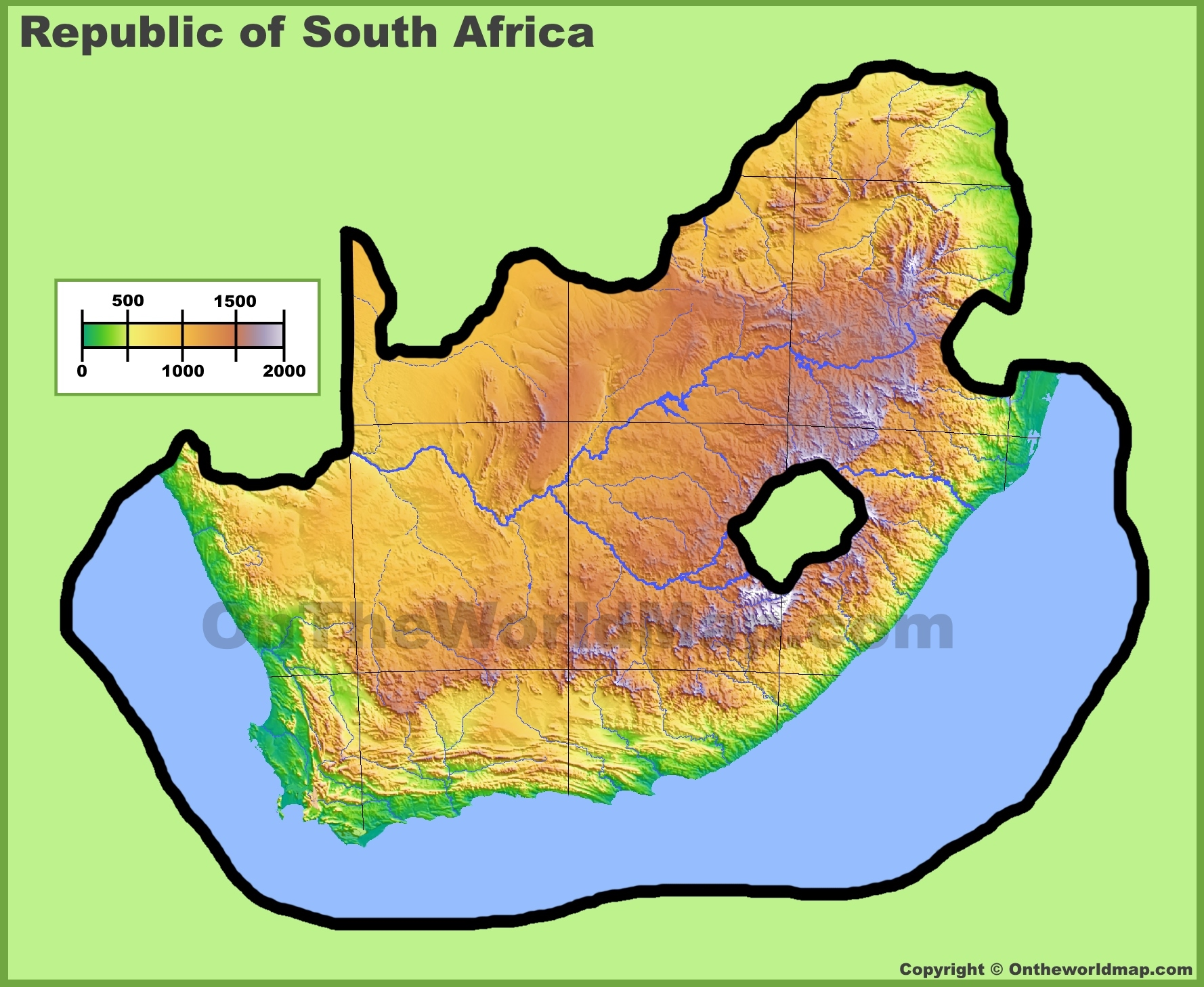 South Africa Physical Map - Map of africa physical