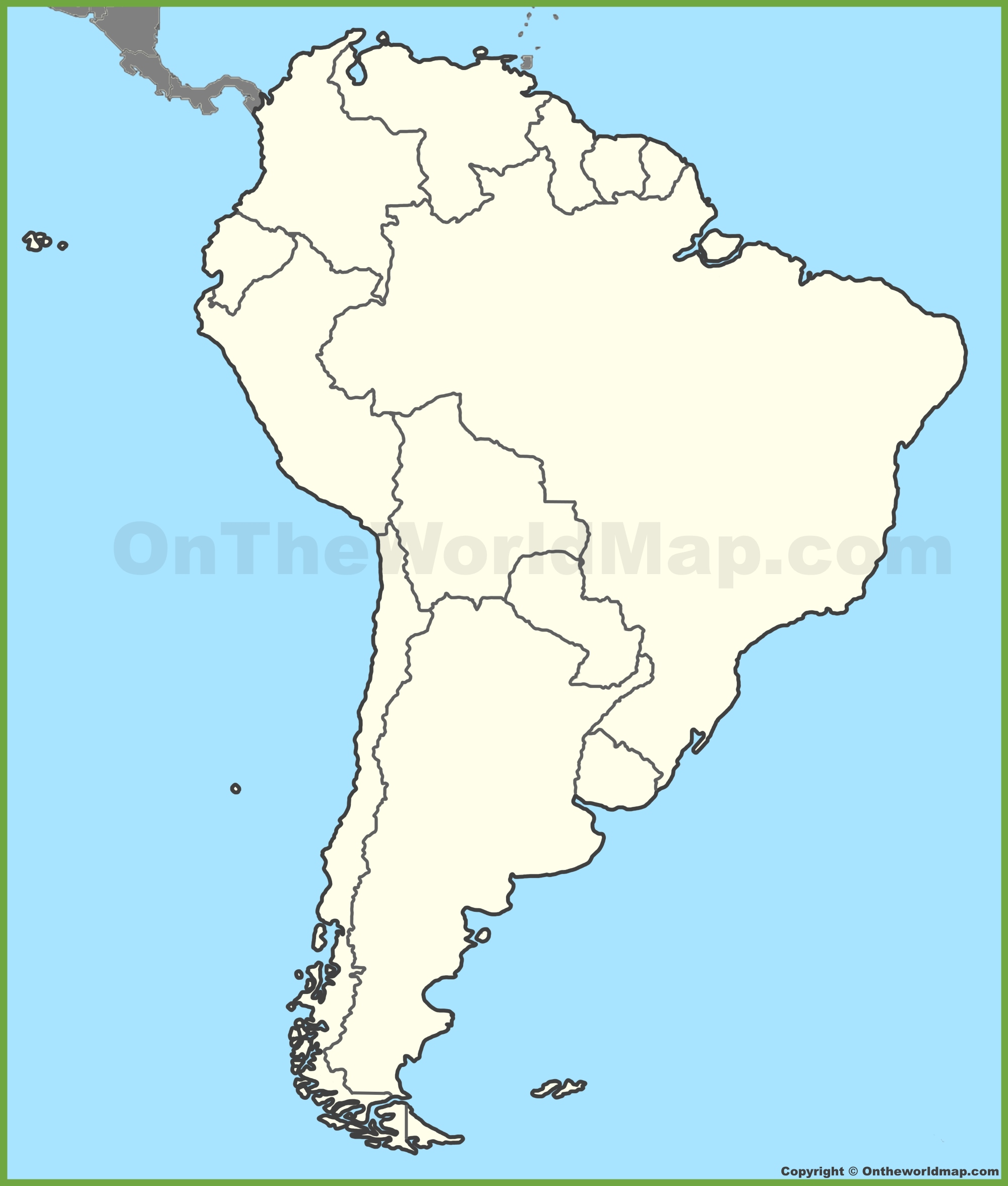 South America Map No Names.Blank Map Of South America