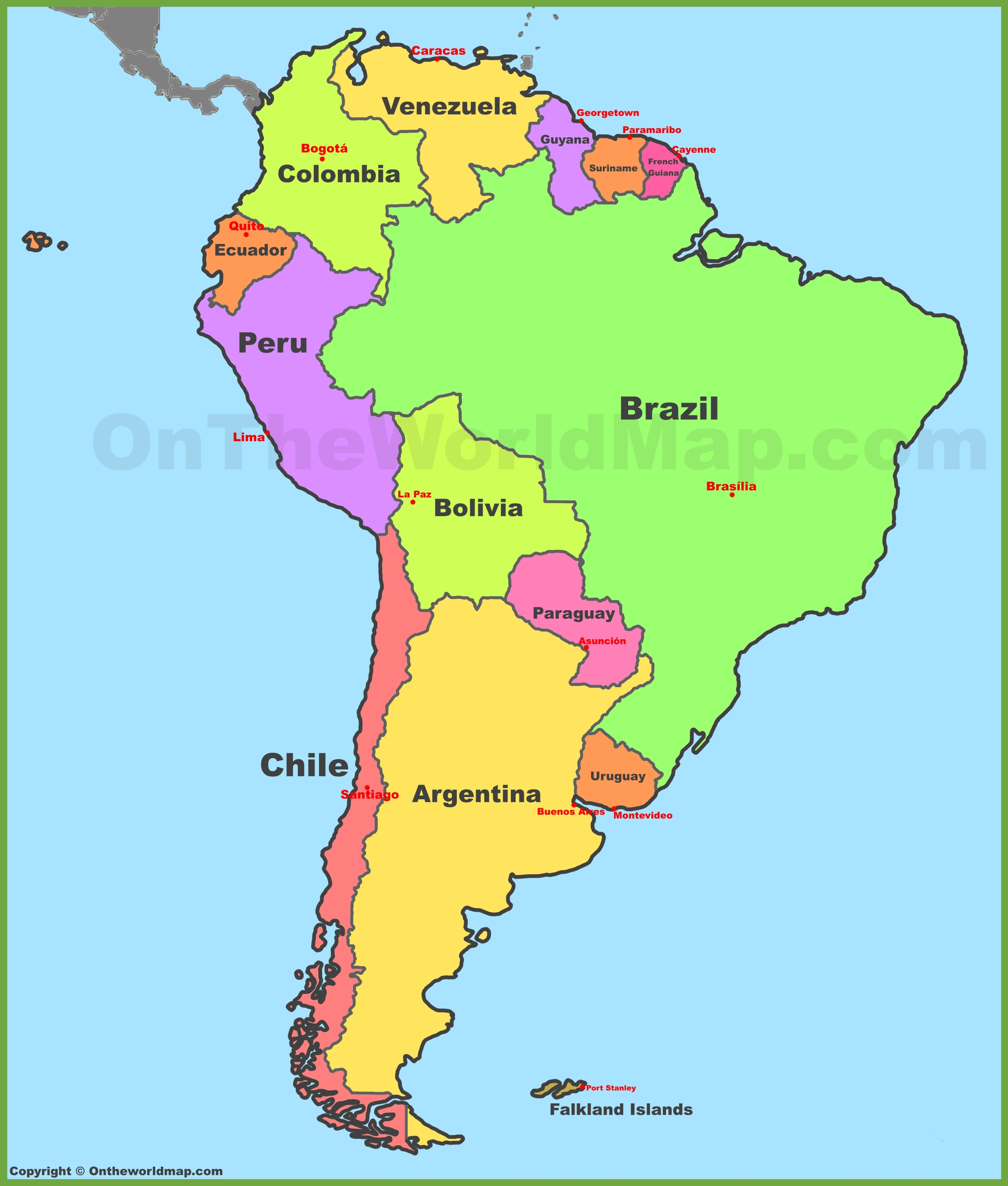 Countries In South America Map Map of South America with countries and capitals