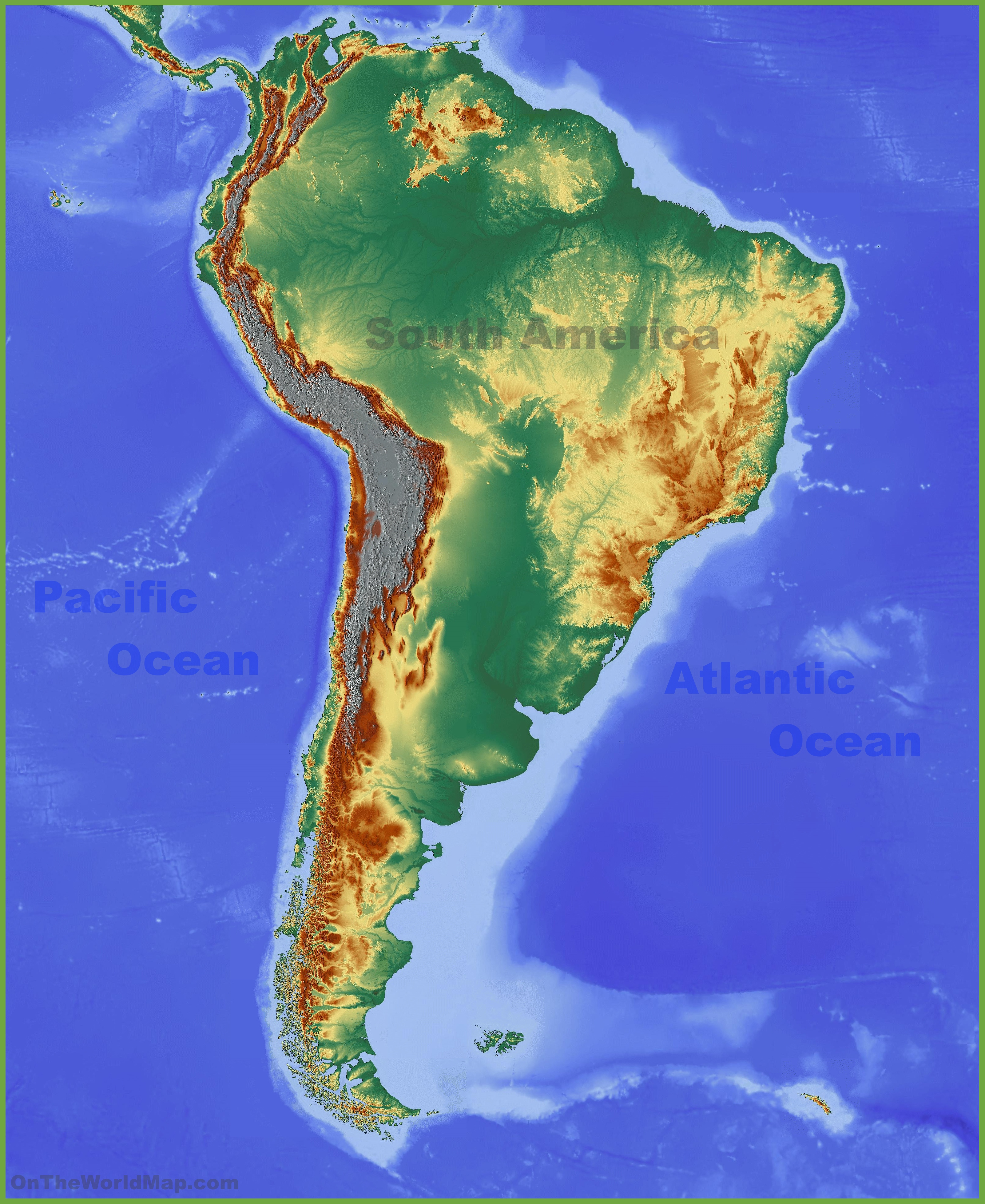 Physical Map Of South America Physical map of South America Physical Map Of South America