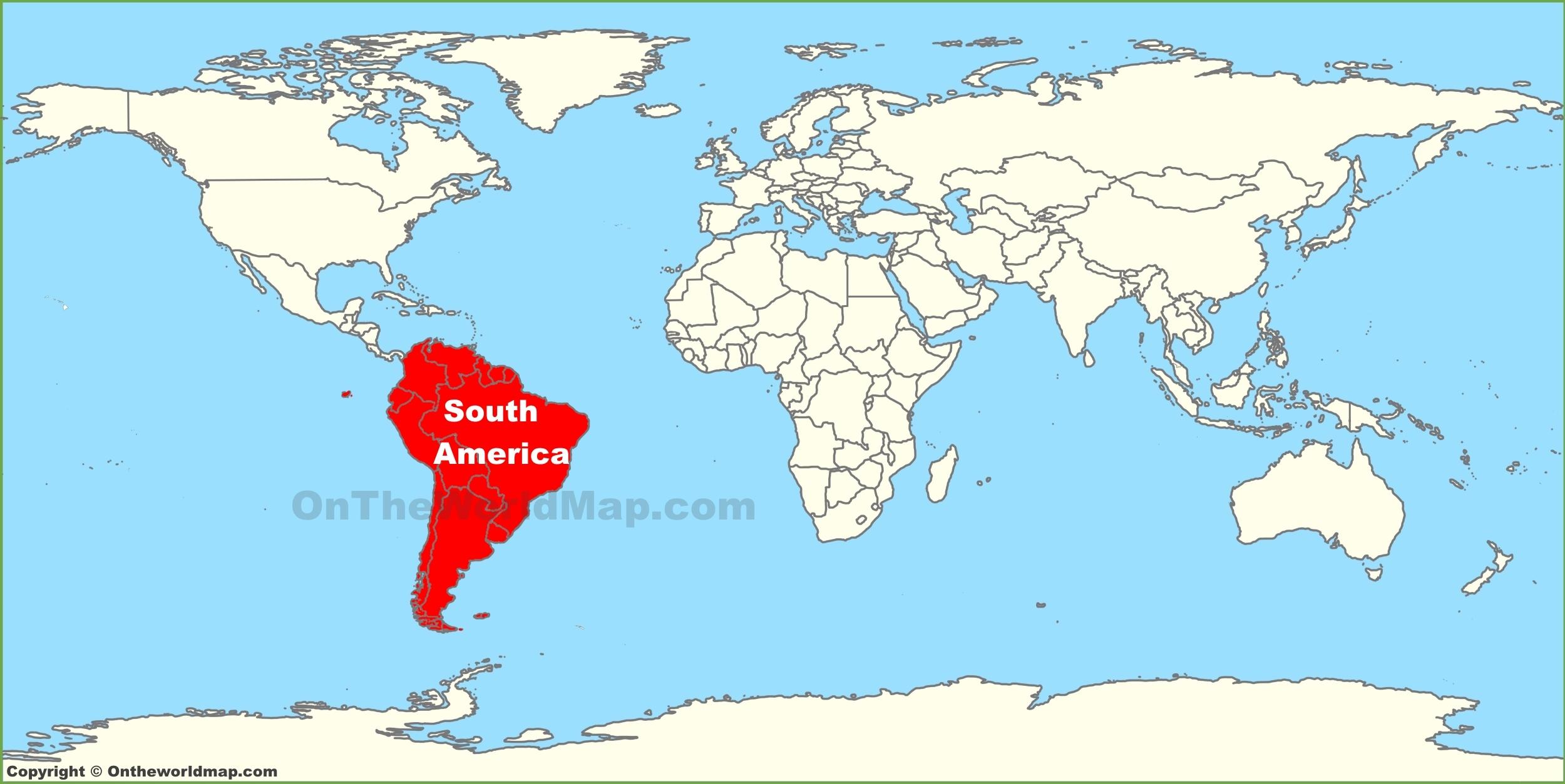 World Map South America South America location on the World Map World Map South America