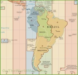 South America time zone map