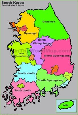 Administrative map of South Korea