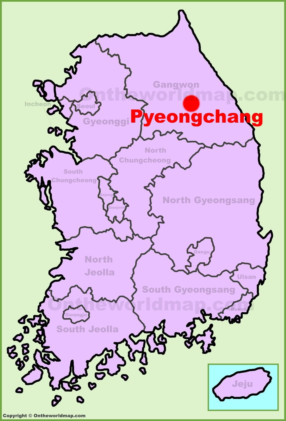 Pyeongchang location on the South Korea Map