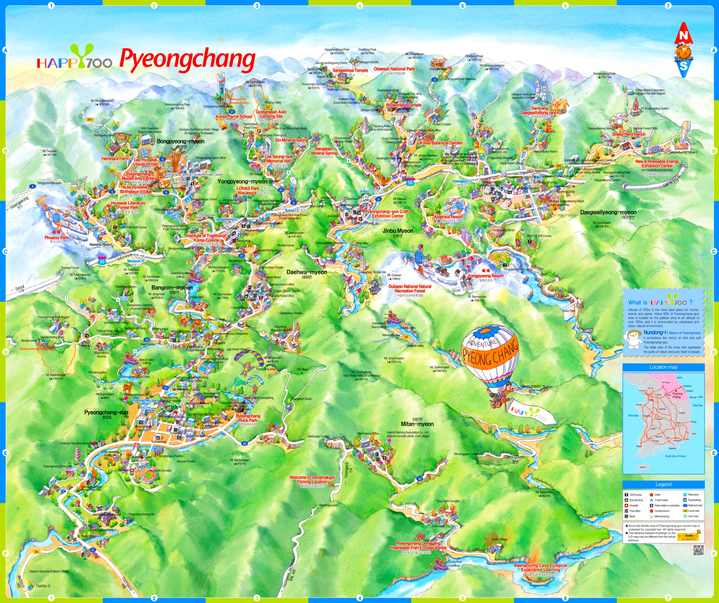 Pyeongchang tourist attractions map