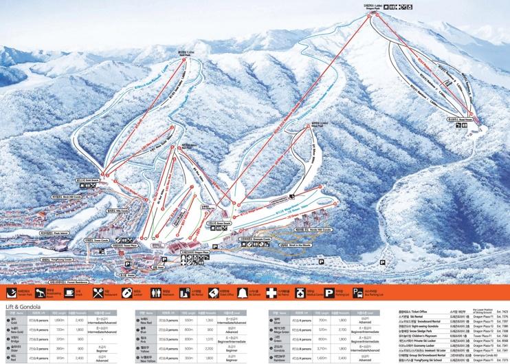 Yongpyong Ski Resort piste map