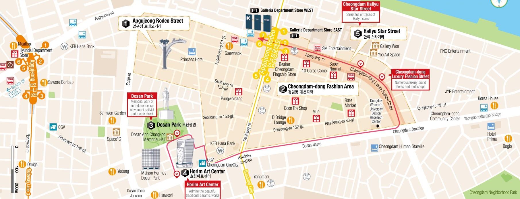 Apgujeongdong and Cheongdamdong map Seoul