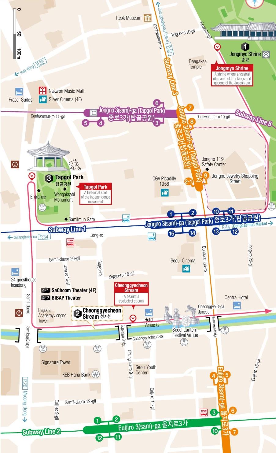 Cheonggyecheon Stream And Jongo Map Seoul