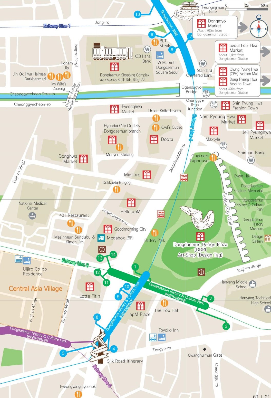 Dongdaemun shopping map Seoul