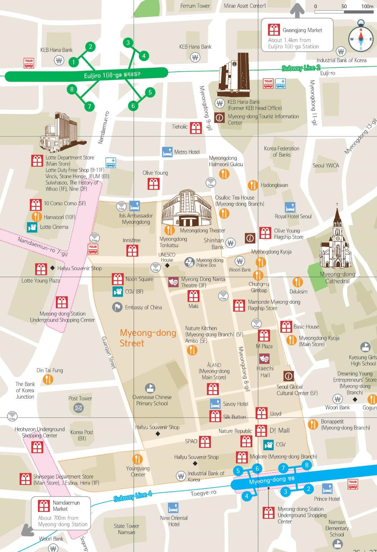 Myeongdong shopping map Seoul