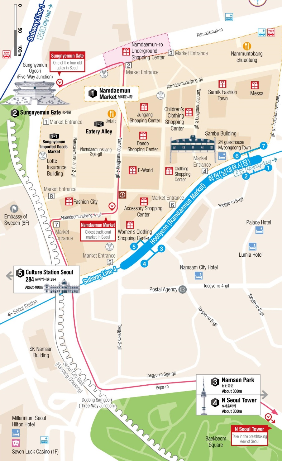 Namdaemun Market and Namsan Mountain map Seoul