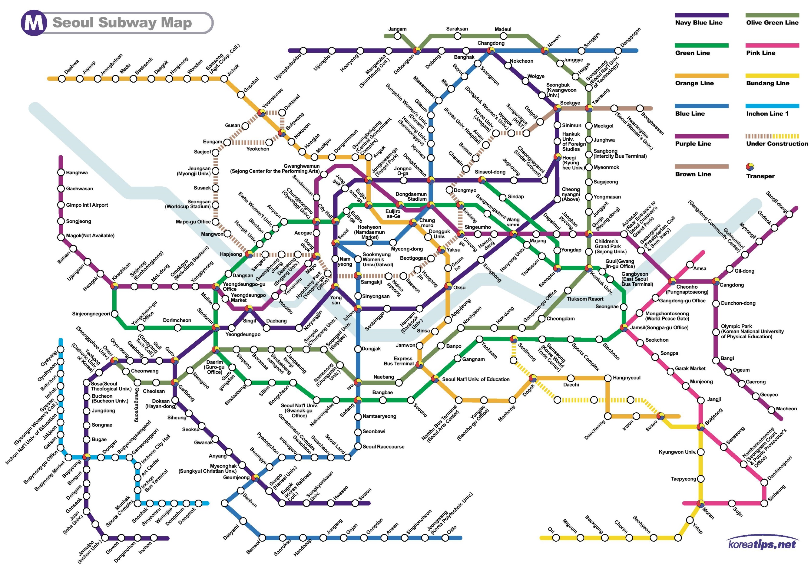 Seoul Subway Map 2015.Kakao Metro Map Map Of Us Western States