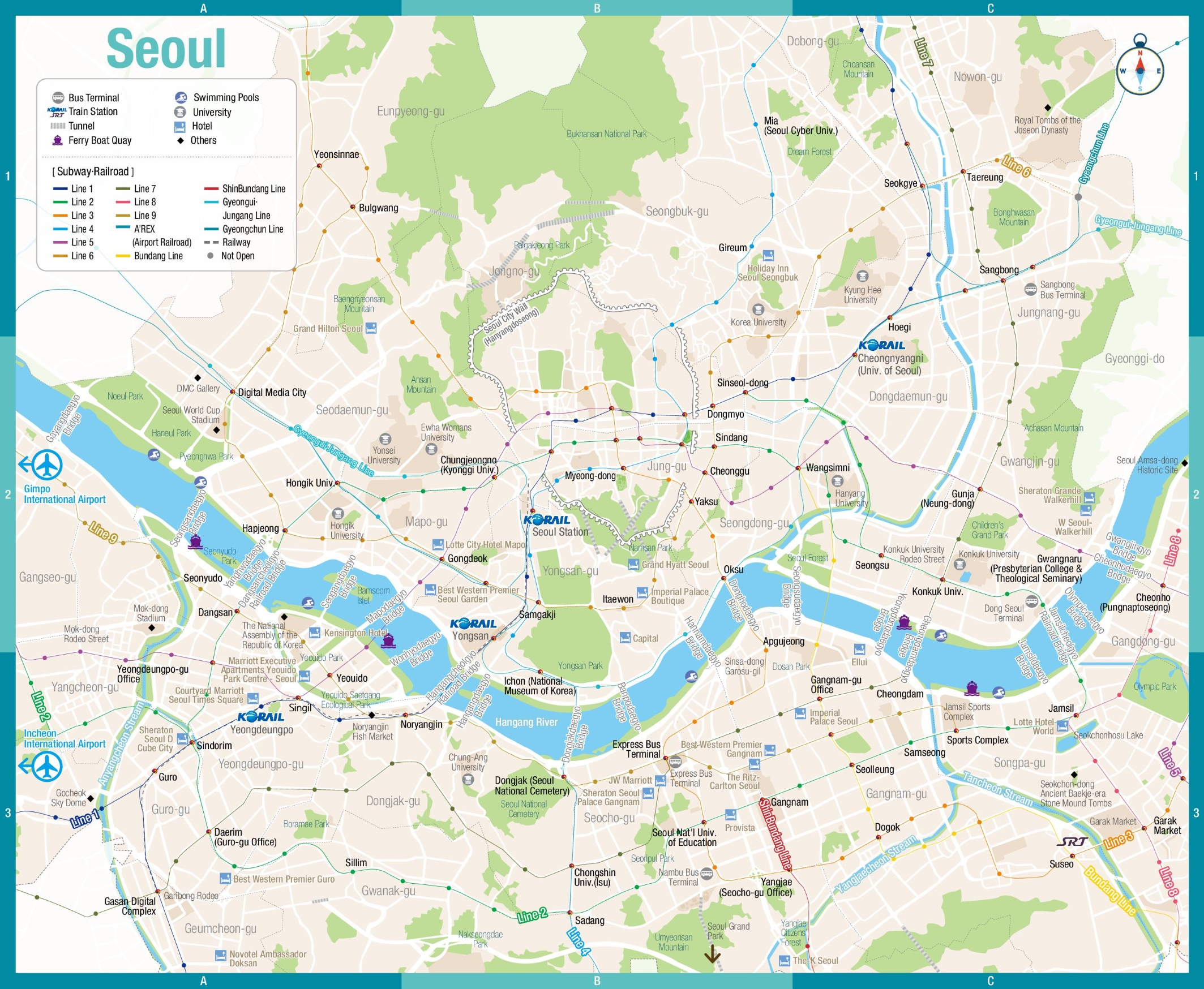 seoul subwayrail map ontheworldmap