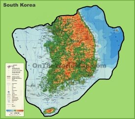 Large detailed physical map of South Korea