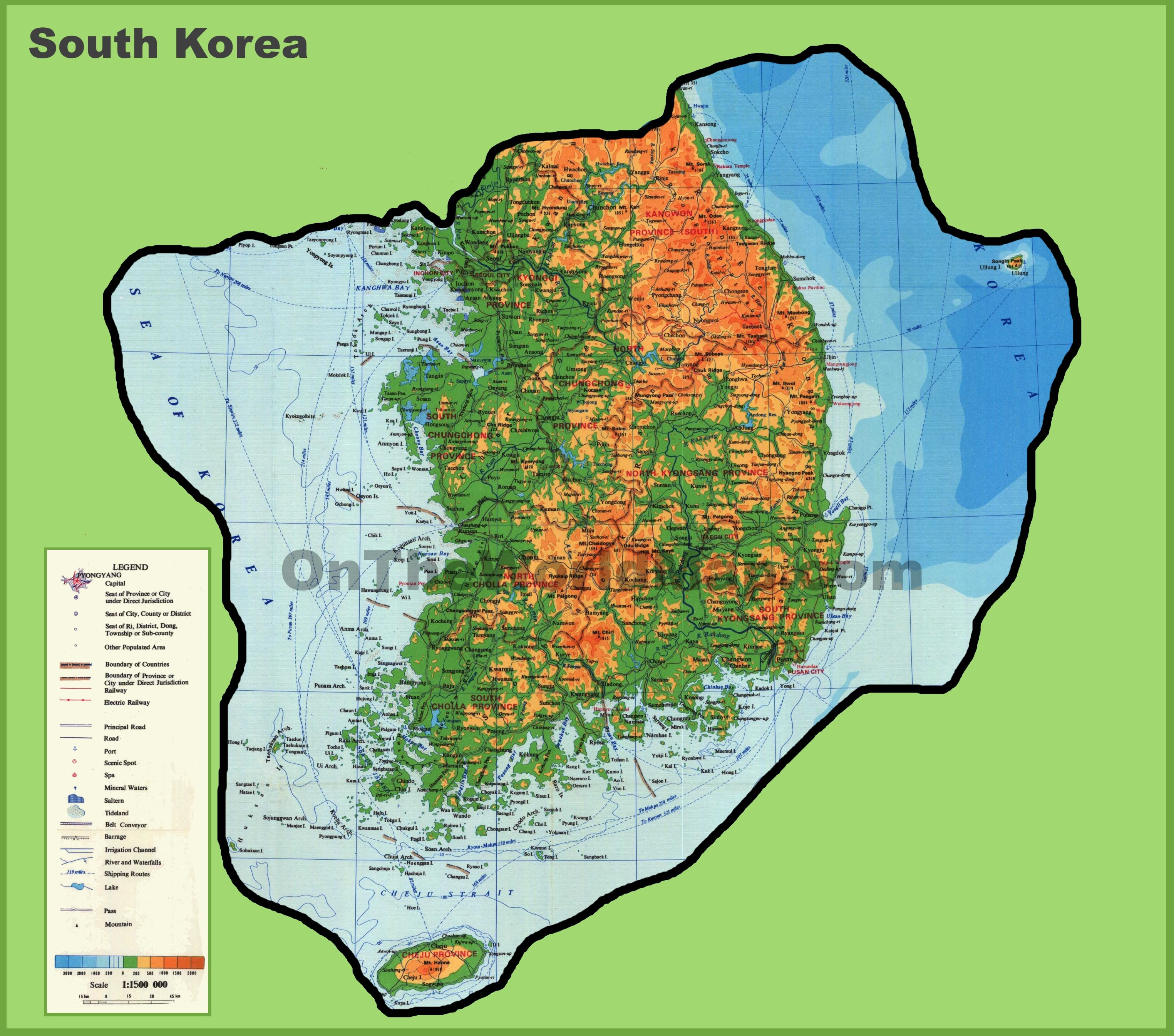 Large Detailed Physical Map Of South Korea - Map of south korea