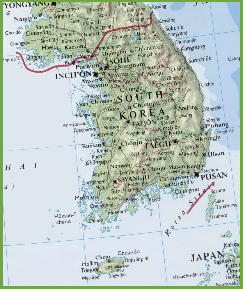 Map Of South Korea Map of South Korea with cities and towns Map Of South Korea