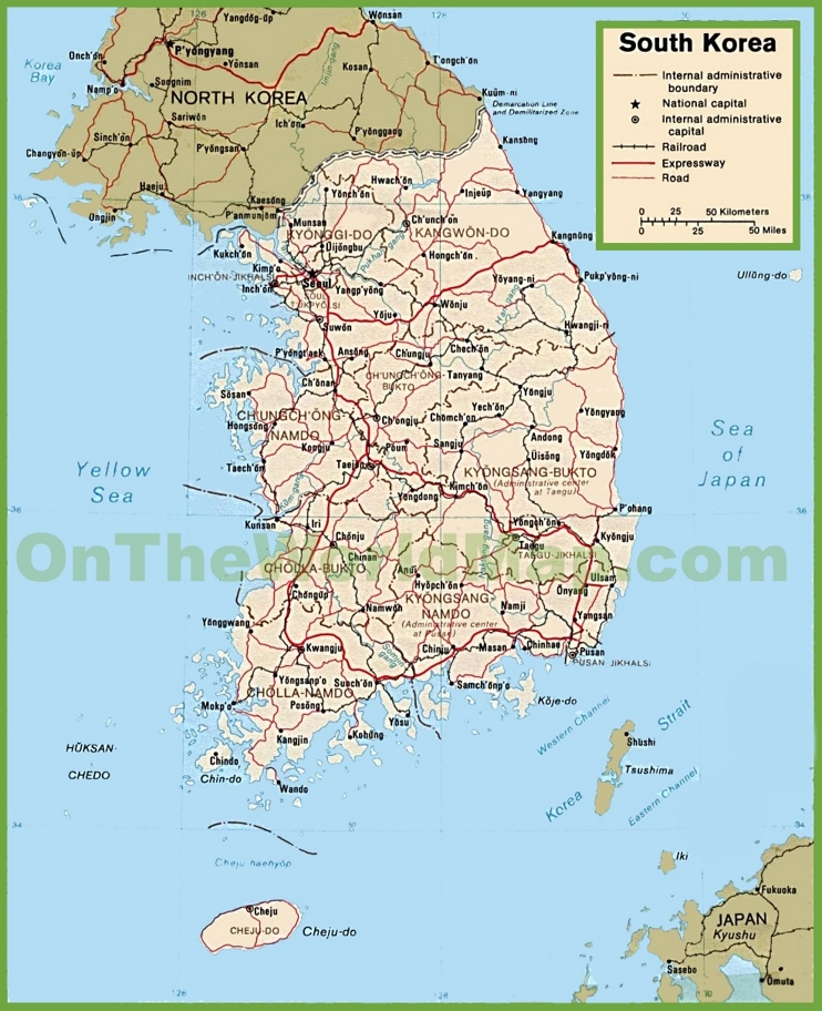 South Korea political map