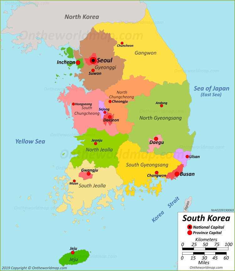 South Korea Political Map - Map of south korea