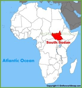 South Sudan location on the Africa map