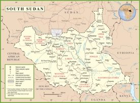 South Sudan political map