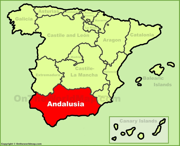 Andalusia location on the Spain map