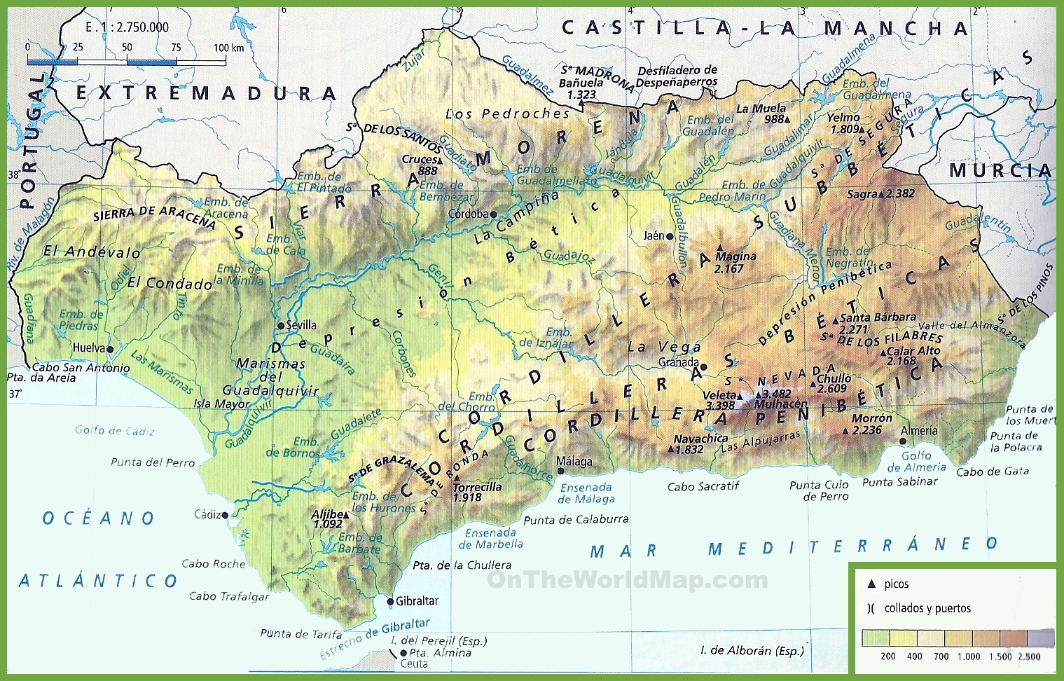 Andalusia Physical Map - Map of andalusia