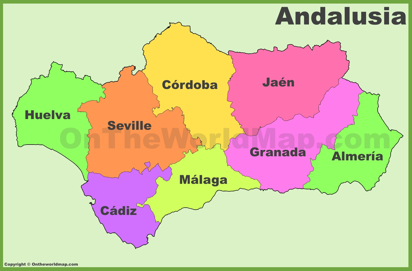 Andalusia Provinces Map - Map of andalusia