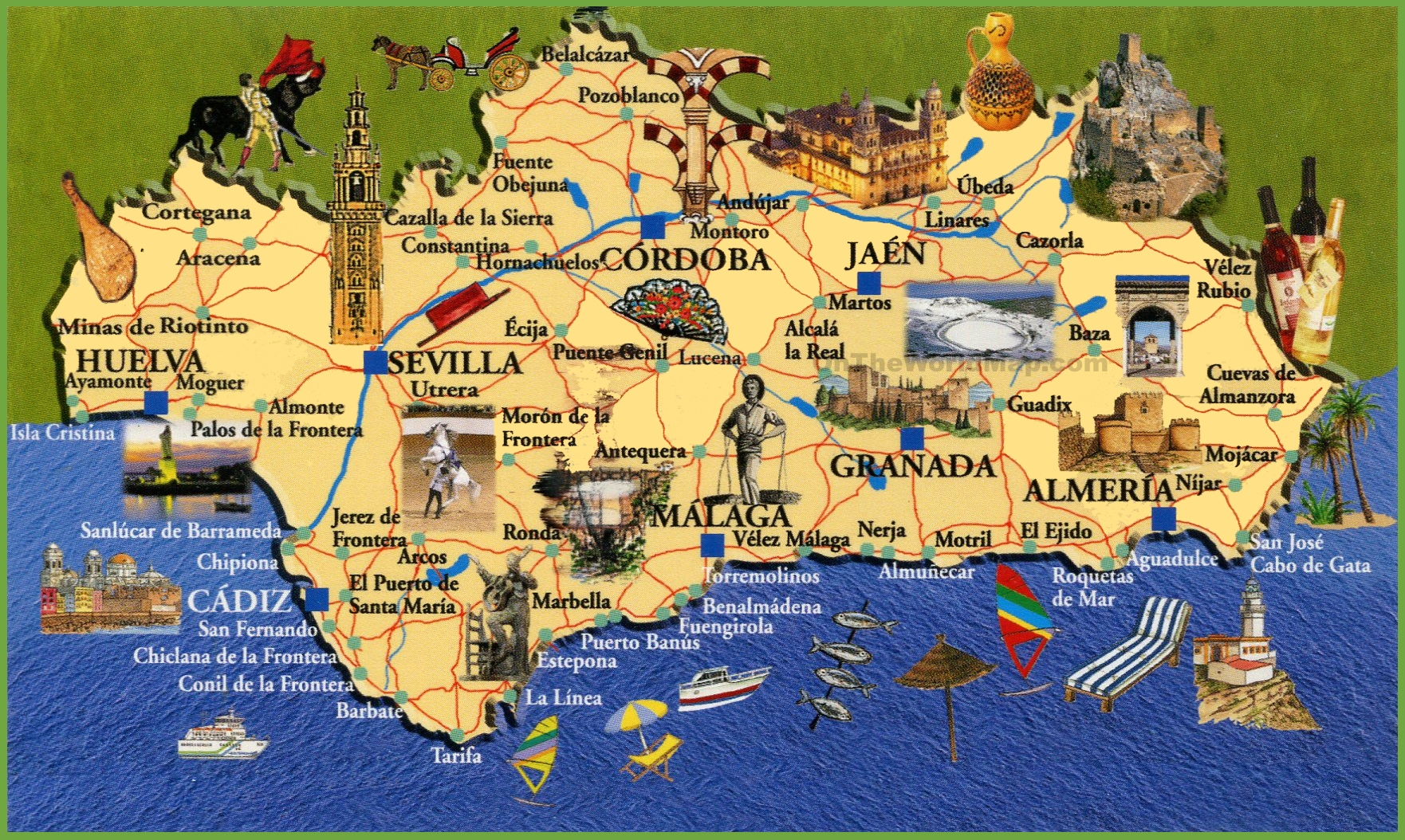 Andalusia Travel Map - Map of andalusia