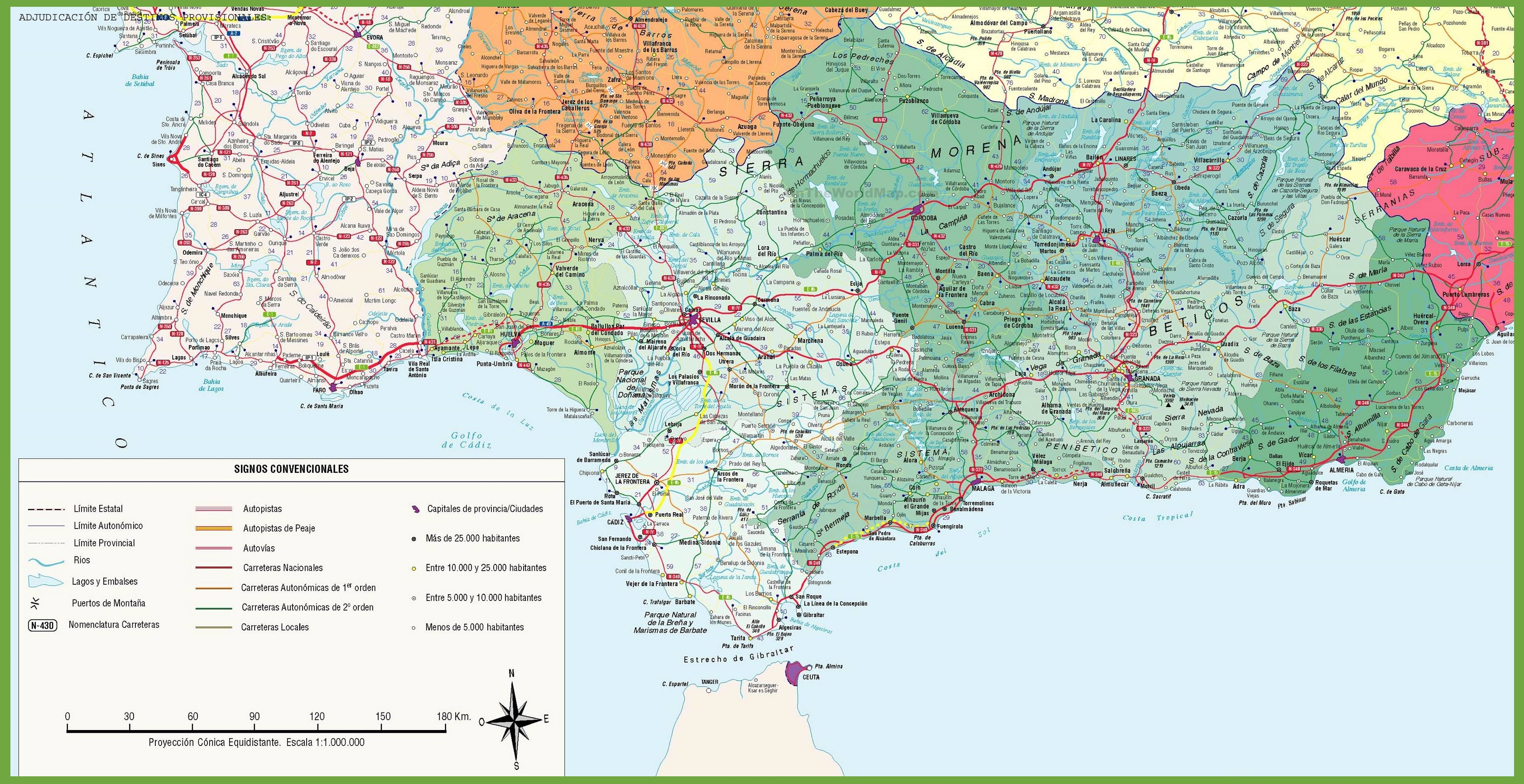 Large detailed map of Andalusia with cities and towns