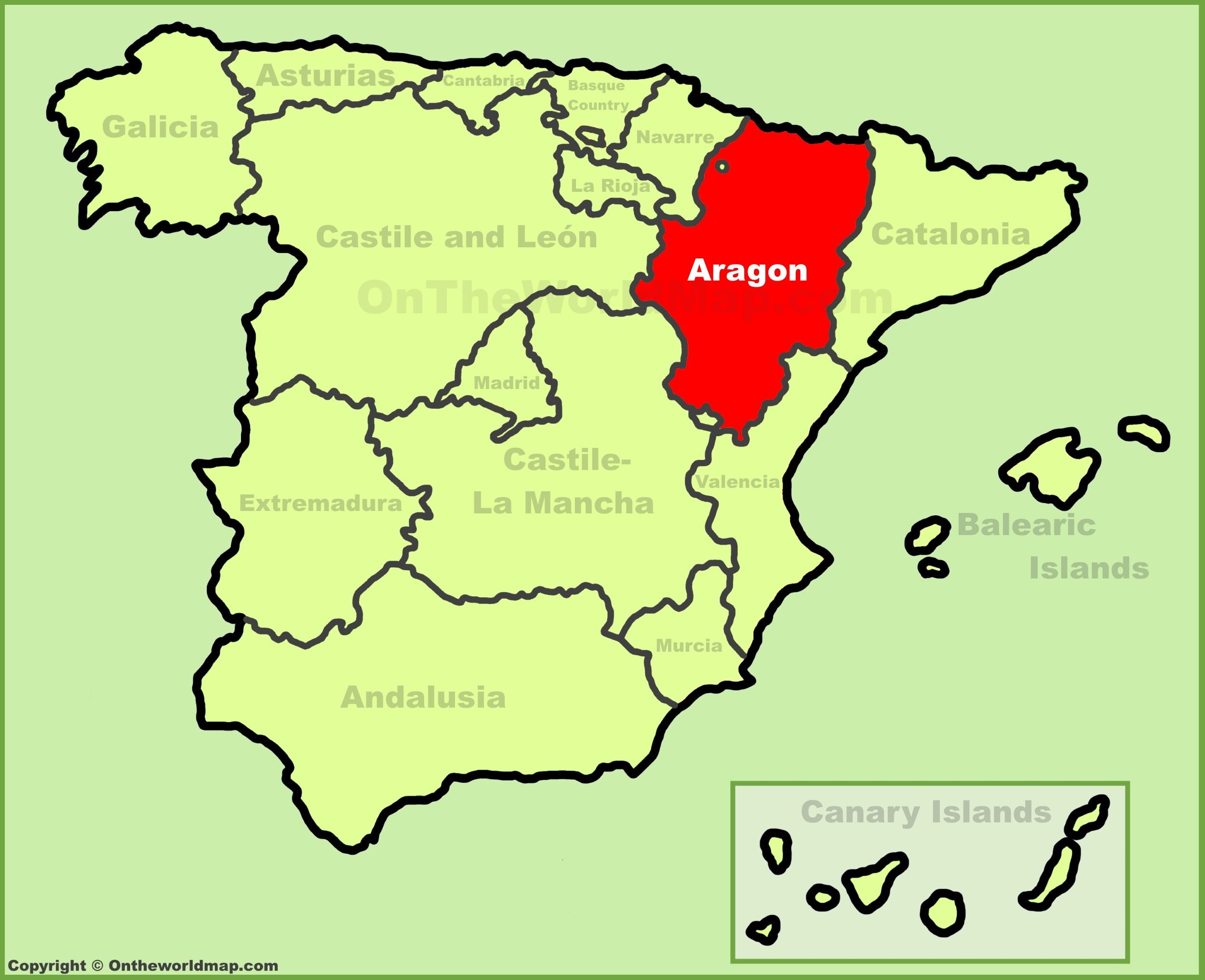 Aragon location on the Spain map