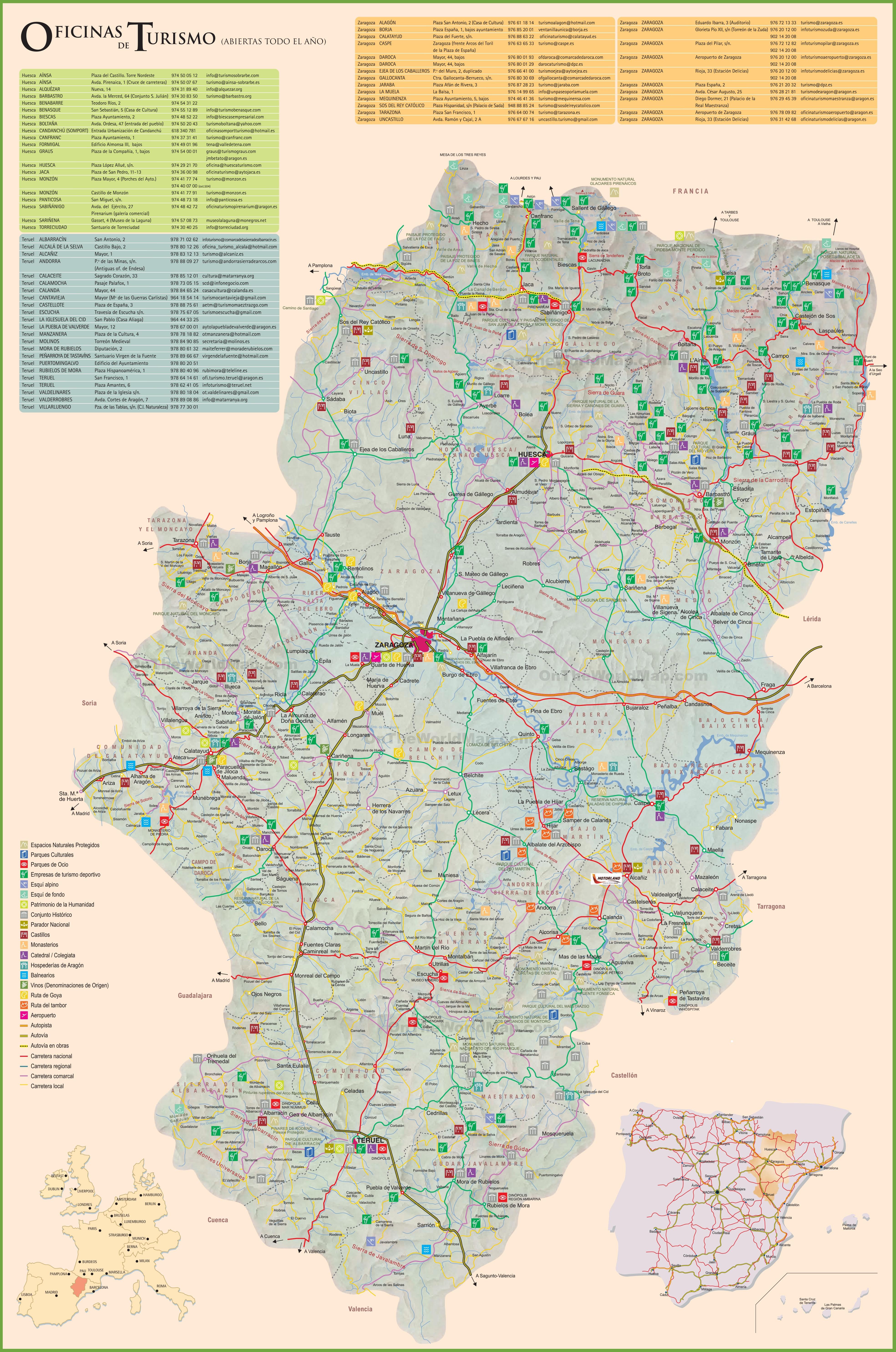 Aragon Tourist Map