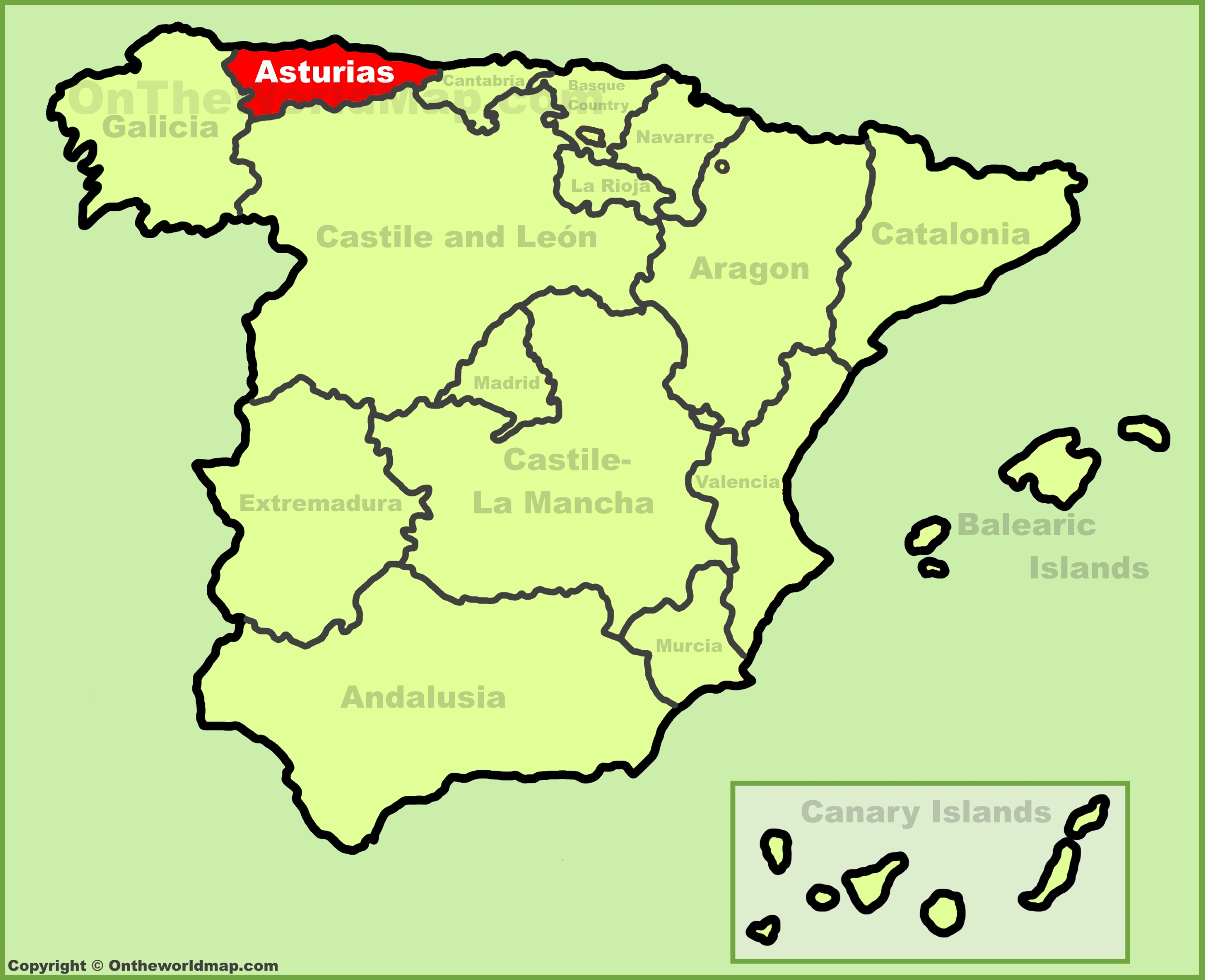Asturias location on the Spain map