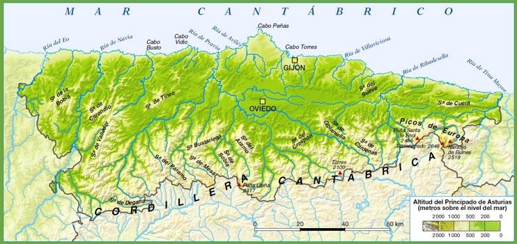 Mapa De Asturias Fisico.Asturias Mapa Fisico