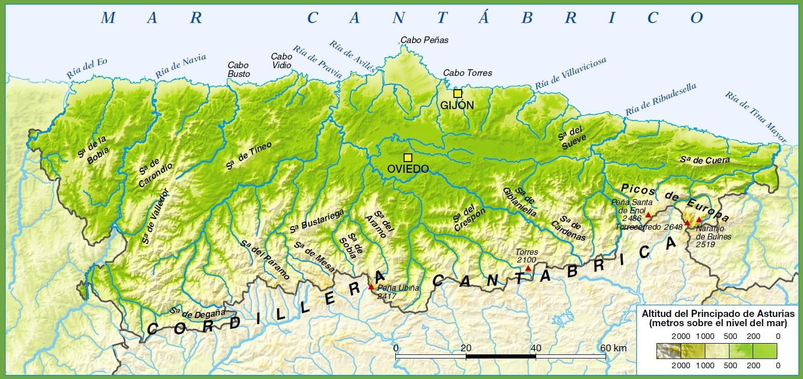 Asturias physical map