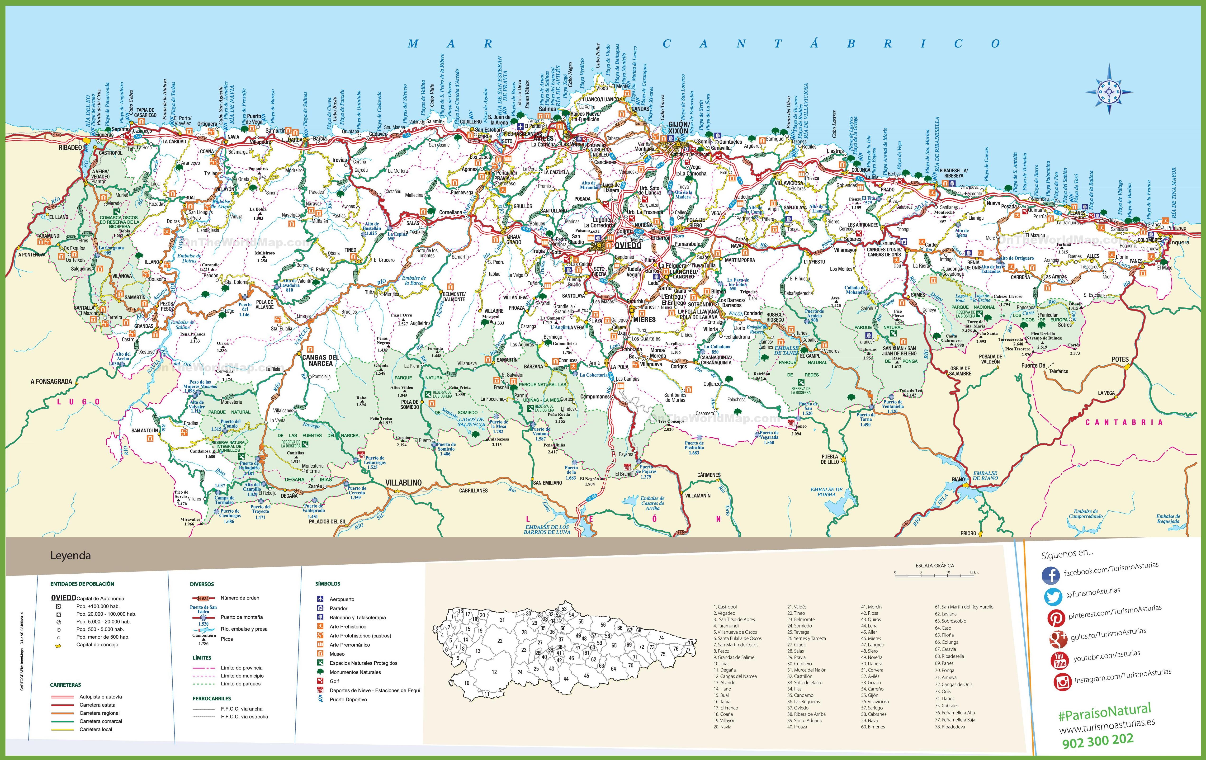 Asturias tourist map