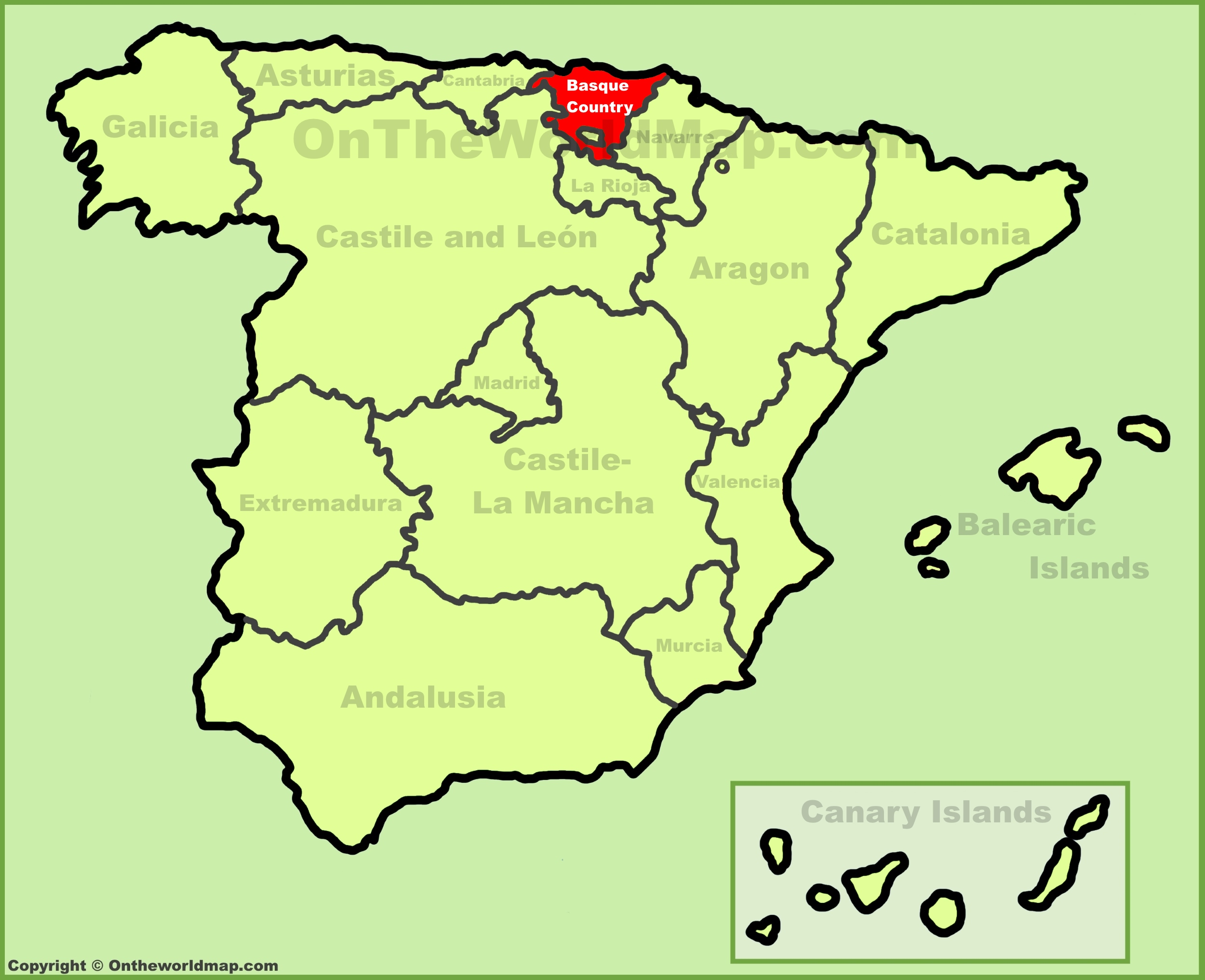 Basque Country location on the Spain map