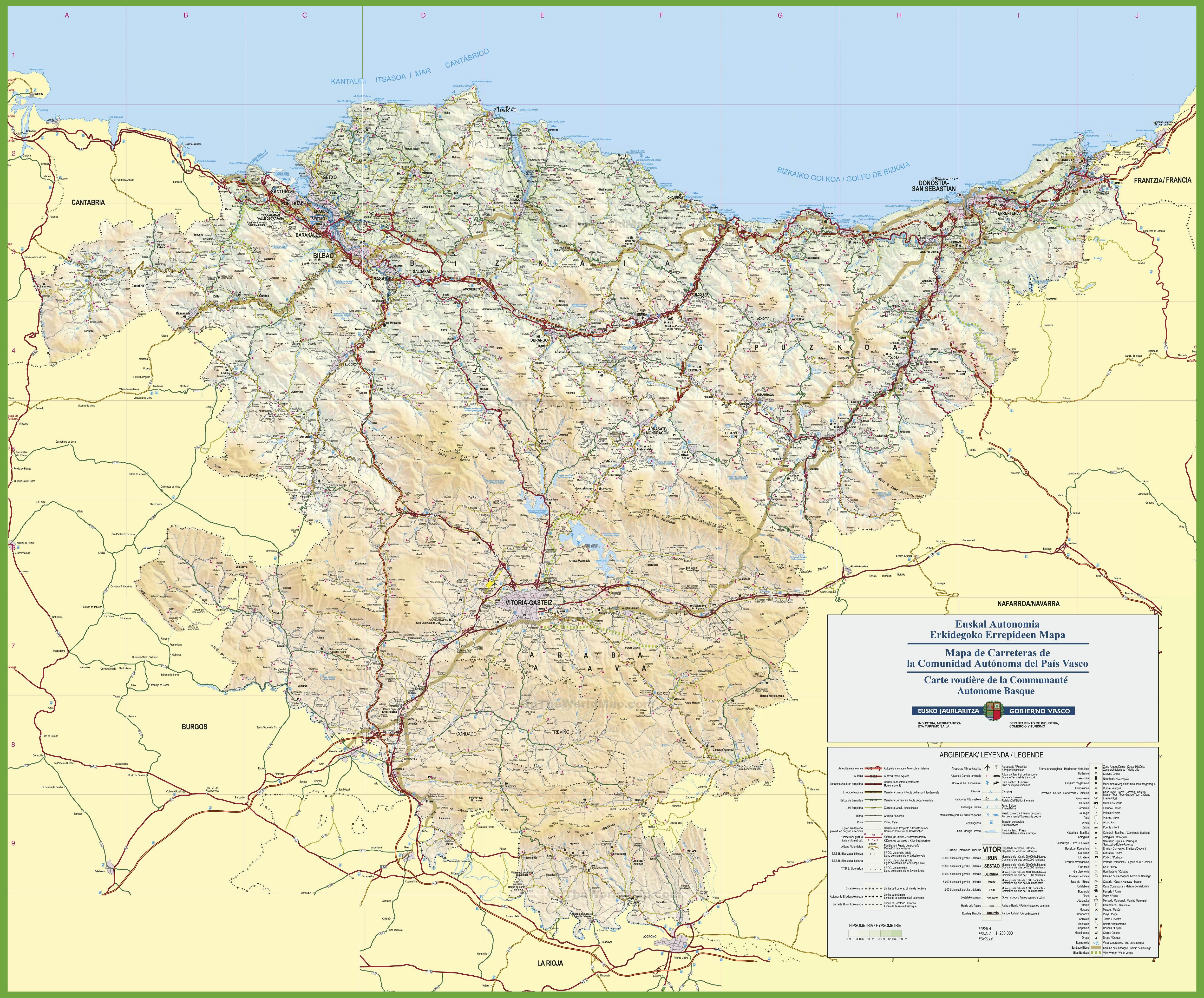 Basque Country travel map