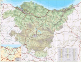 Large detailed map of Basque Country with cities and towns