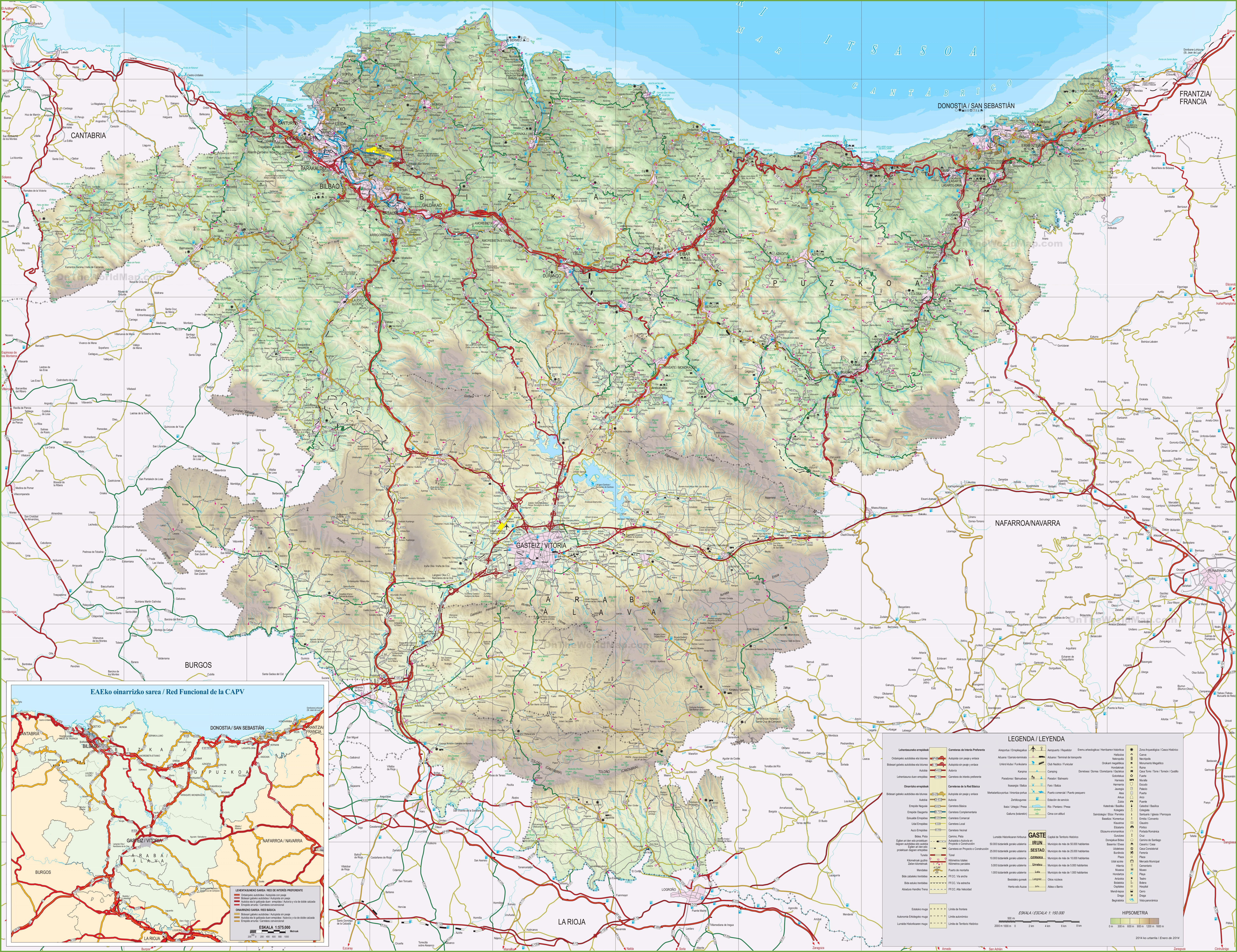 Basque Country Map Large detailed map of Basque Country with cities and towns