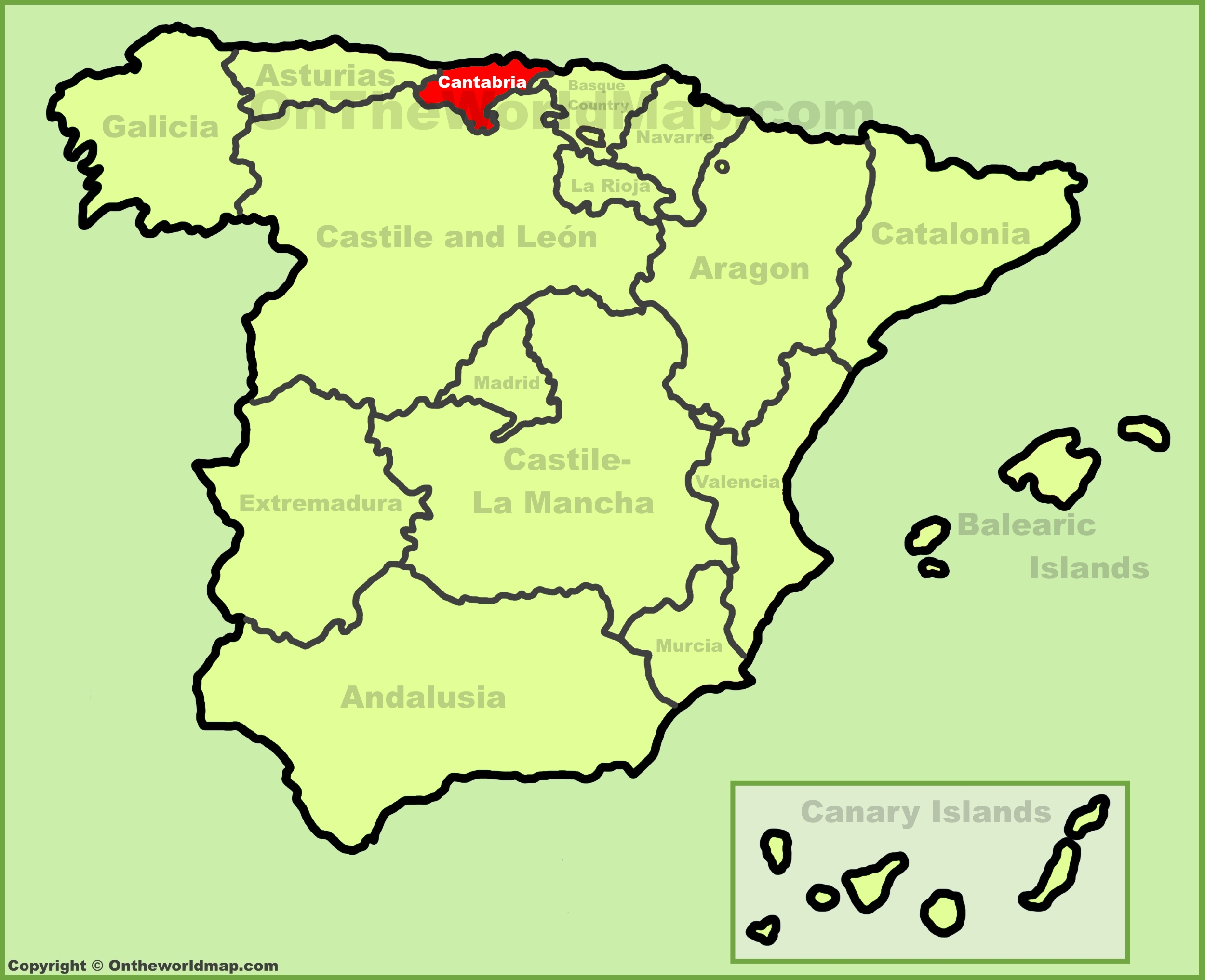 Cantabria location on the Spain map